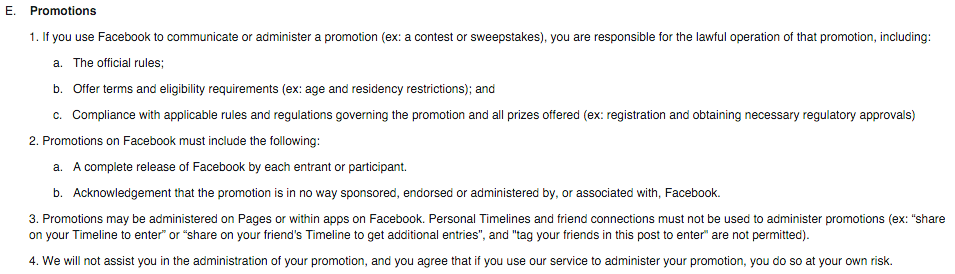 Facebook promotion guidelines giveaway rules for Facebook disclaimer template